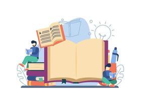 lendo o conceito de livro. homem lendo o livro na pilha de livros. livros on-line, biblioteca, preparação para o exame, educação em casa, educação à distância pode ser usado para páginas de destino, web, banners, modelos, planos de fundo vetor