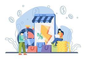 conceito de venda flash de promoção de comércio eletrônico. mulher sente-se na pilha de moedas com a sacola de compras. oferta especial, promoção de loja de comércio eletrônico. pode ser usado para promoção, cartaz, banner da web, movimento. vetor