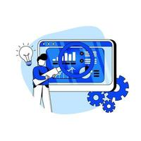 ícone de ilustração vetorial de conceito de business intelligence. analista de dados, previsão de vendas, desenvolvimento de negócios, relatórios, estratégia de negócios. metáfora abstrata. pode usar para página de destino, aplicativo móvel. vetor