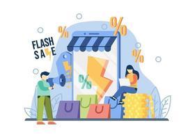conceito de venda flash de promoção de comércio eletrônico. um homem segura o megafone. oferta especial, promoção de loja de comércio eletrônico, metáfora abstrata de renda de varejo. pode ser usado para promoção, cartaz, banner da web, movimento. vetor