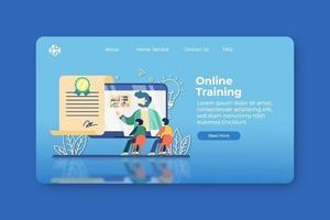 ilustração em vetor moderno design plano. página inicial de treinamento online e modelo de banner da web. certificação, cursos online, educação digital, webinar, e-learning, vídeo tutorial, ensino online.