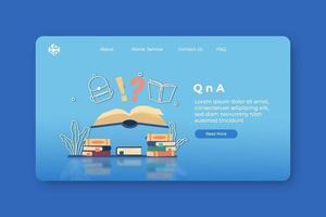 ilustração em vetor moderno design plano. página inicial do qna e modelo de banner da web para aplicação educacional. faq, educação digital, biblioteca digital, centro de apoio, e-book, livraria digital.