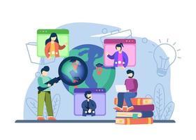 conceito global de educação online. ferramentas de e-learning, educação à distância, aprendizagem pela Internet. pode ser usado para páginas de destino, web, interface de usuário, banners, modelos, planos de fundo, base. vetor