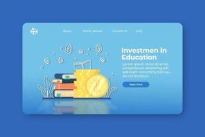 ilustração em vetor moderno design plano. investimento em página inicial de educação e modelo de banner da web. bolsa de estudos, empréstimo de estudante, economia de dinheiro para a educação, estudo de negócios globais, educação no exterior.