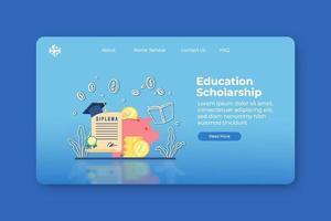 ilustração em vetor moderno design plano. página inicial de bolsa de estudos de educação e modelo de banner da web. investimento em educação, empréstimo de estudante, economia de dinheiro para educação, estudo de negócios globais.