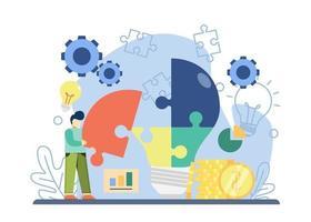 solução de negócios com personagem coletar peças do quebra-cabeça de lâmpada. resolução de problemas, compartilhar ideias, ideias criativas, encontrar soluções. design gráfico para página de destino, web, aplicativos móveis, banner, modelo vetor