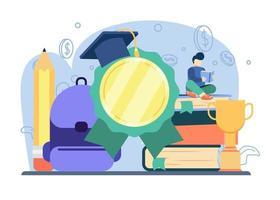 conceito de realização pessoal. aluno recebe honra de educação. realização, valorização do professor, graduação, educação a distância, certificação. pode ser usado para páginas de destino, web, banners, modelos. vetor