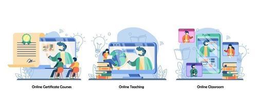 treinamento online, certificação, aulas online, educação a distância, icon set.cursos de certificação online, ensino online, sala de aula online. ilustração em vetor design plano isolado conceito metáfora