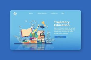 ilustração em vetor moderno design plano. página inicial de educação de trajetória e modelo de banner da web. realização educacional, acadêmico, crescimento pessoal, estratégia de capital educacional, graduação escolar
