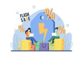 conceito de venda flash de promoção de comércio eletrônico. mulheres sentam-se na pilha de moedas com etiqueta de grande desconto oferta especial, promoção de loja de comércio eletrônico. pode ser usado para promoção, cartaz, banner da web, movimento. vetor