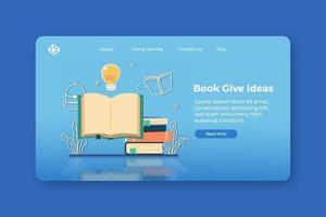 ilustração em vetor moderno design plano. livro dá ideias de página de destino e modelo de banner da web. livro aberto com lâmpada brilhando voando. aprender com os livros, criar inovação, estudar literatura.