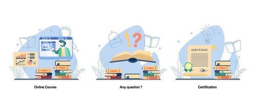 webinar online, perguntas e respostas, conjunto de ícones de realização acadêmica. cursos online, qualquer dúvida, certificação. ilustração em vetor design plano isolado conceito metáfora