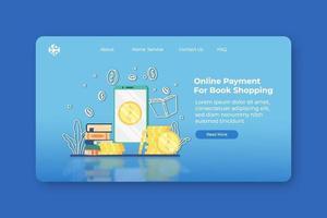 ilustração em vetor moderno design plano. pagamento online para página inicial de compras de livros e modelo de banner da web. livraria digital, loja online, livro de leitura digital, aplicativo de livro online.