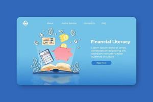 ilustração em vetor moderno design plano. página inicial de alfabetização financeira e modelo de banner da web. educação financeira, contabilidade, escola de negócios e, economizando dinheiro, webinar.