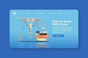 ilustração em vetor moderno design plano. livro de entrega com página inicial do drone e modelo de banner da web. livraria digital, biblioteca digital, conceito de negócio, serviço de entrega, loja online.