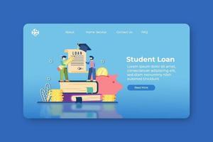 ilustração em vetor moderno design plano. página inicial do empréstimo de estudante e modelo de banner da web. investimento em educação, bolsa de estudos, programa de educação, educação no exterior, desempenho acadêmico, colagem