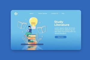 ilustração em vetor moderno design plano. estudo da página inicial da literatura e modelo de banner da web. educação à distância, ensino em casa, ideia criativa, livro de leitura, inovação, conceito de e-learning