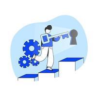 chave de ilustração em vetor conceito design plano de sucesso. solução de negócios, empresário de sucesso, grande oportunidade. metáfora abstrata. pode usar para página de destino, aplicativo móvel.