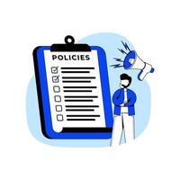 ícone de ilustração vetorial de conceito de design plano de políticas. formulário de solicitação de seguro, apólice de seguro, contrato de usuário, seguro saúde, regra de negócios. metáfora abstrata. pode usar para página de destino, aplicativo móvel. vetor