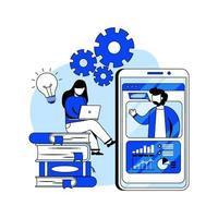 ilustração em vetor conceito design plano webinar on-line. sala de aula online, educação digital, cursos online, educação a distância. metáfora abstrata. pode usar para página de destino, aplicativo móvel, interface do usuário, banners