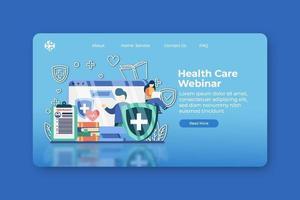 ilustração em vetor moderno design plano. página inicial de webinar de cuidados de saúde e modelo de banner da web. treinamento, medicina, educação sobre vírus, webinar sobre proteção de vírus, treinamento de prevenção de vírus.