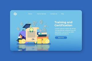 ilustração em vetor moderno design plano. página inicial de treinamento e certificação e modelo de banner da web. certificação, cursos online, webinar, workshop, cursos digitais, treinamento digital, graduação