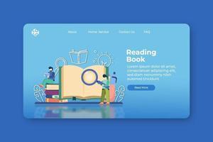 ilustração em vetor moderno design plano. lendo a página inicial do livro e o modelo de banner da web. educação à distância, aprendizagem, livro é conhecimento, ensino em casa, literatura de estudo, e-book, educação digital