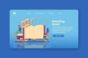 ilustração em vetor moderno design plano. lendo a página inicial do livro e o modelo de banner da web. livro digital, educação digital, estudo em qualquer lugar, ensino em casa, biblioteca, biblioteca digital, e-book.