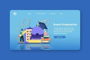 moderno design plano vector illustration.exam preparação página inicial e modelo de banner da web. volta às aulas, teste de graduação, e-learning, educação a distância, ensino em casa.