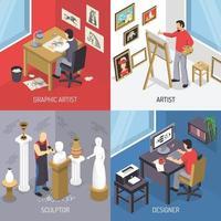 conceito de design de artista isométrico vetor
