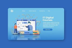 ilustração em vetor moderno design plano. página de destino de cursos digitais e modelo de banner da web. treinamento, certificação, educação online, webinar, programação, aplicativo de desenvolvimento, tecnologia.