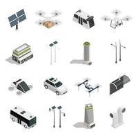 ícones isométricos de tecnologia de cidade inteligente vetor