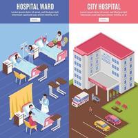 banners verticais isométricos de hospital vetor