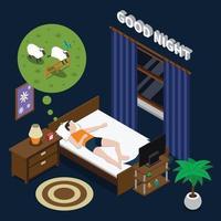 sono tempo distúrbios do sono composição isométrica vetor