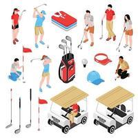 conjunto de golfe isométrico vetor