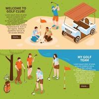 banners de golfe isométricos vetor