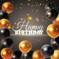 festivo voando balões brilhantes realistas preto e branco vetor