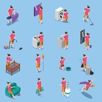 ícones de pessoas isométricas de dona de casa