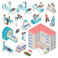 conjunto médico isométrico de hospital vetor