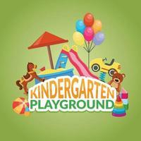 composição plana de babá do jardim de infância vetor