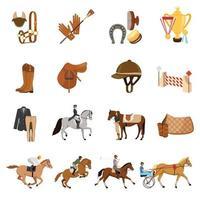 ícones planos de esportes equestres vetor