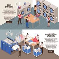 banners isométricos de lavanderia vetor