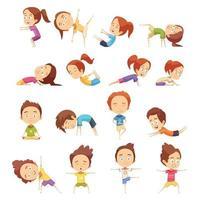 conjunto de ioga infantil vetor