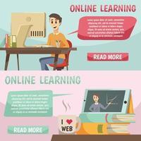 banners ortogonais de educação online vetor