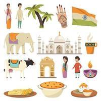 ícones ortogonais da índia vetor