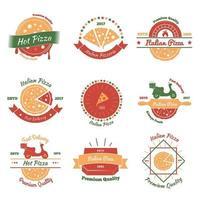 pizza vintage emblemas cor vetor