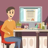 bachground ortogonal de educação online vetor