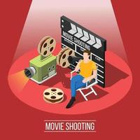 composição isométrica de filmagem de filme vetor
