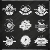 pizza com emblemas vintage vetor