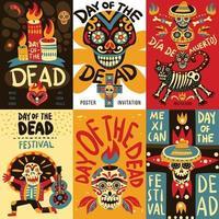 cartazes de banners do dia morto no México vetor